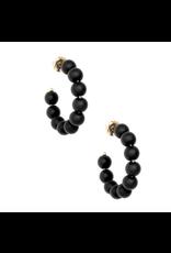 Zenzii Matte Beaded Small Hoop in Black