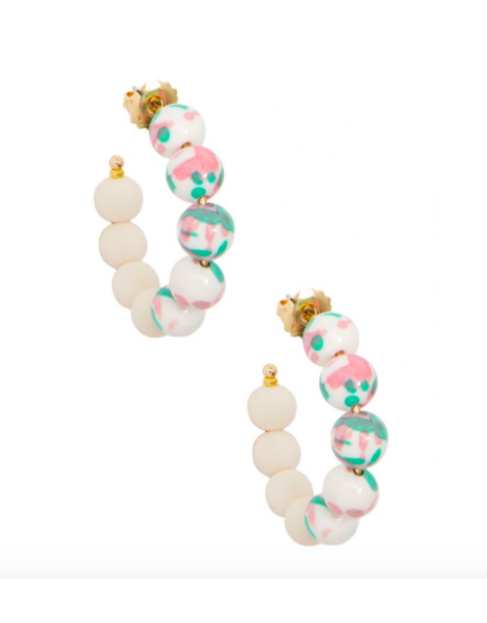 Zenzii Beaded Mixed Beads Small Hoop in Pink/Multi