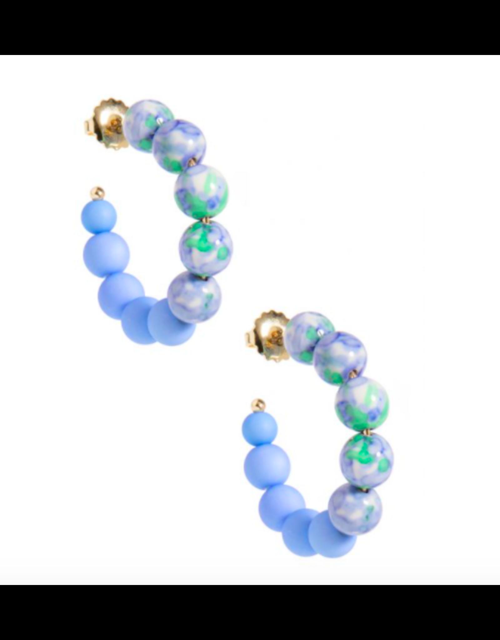 Zenzii Mixed Beads Small Hoop in Light Blue
