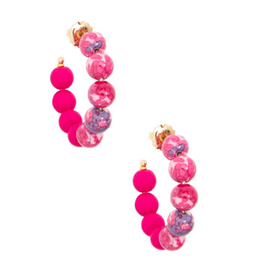 Zenzii Mixed Beads Small Hoop in Hot Pink