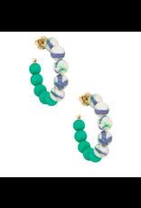 Zenzii Mixed Beads Small Hoop in Dark Green