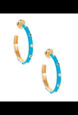 Zenzii Starburst Enamel Hoop Earring in Bright Blue