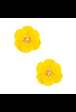 Zenzii Metal Floral Stud Earring in Yellow