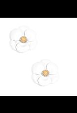 Zenzii Metal Floral Stud Earring in White