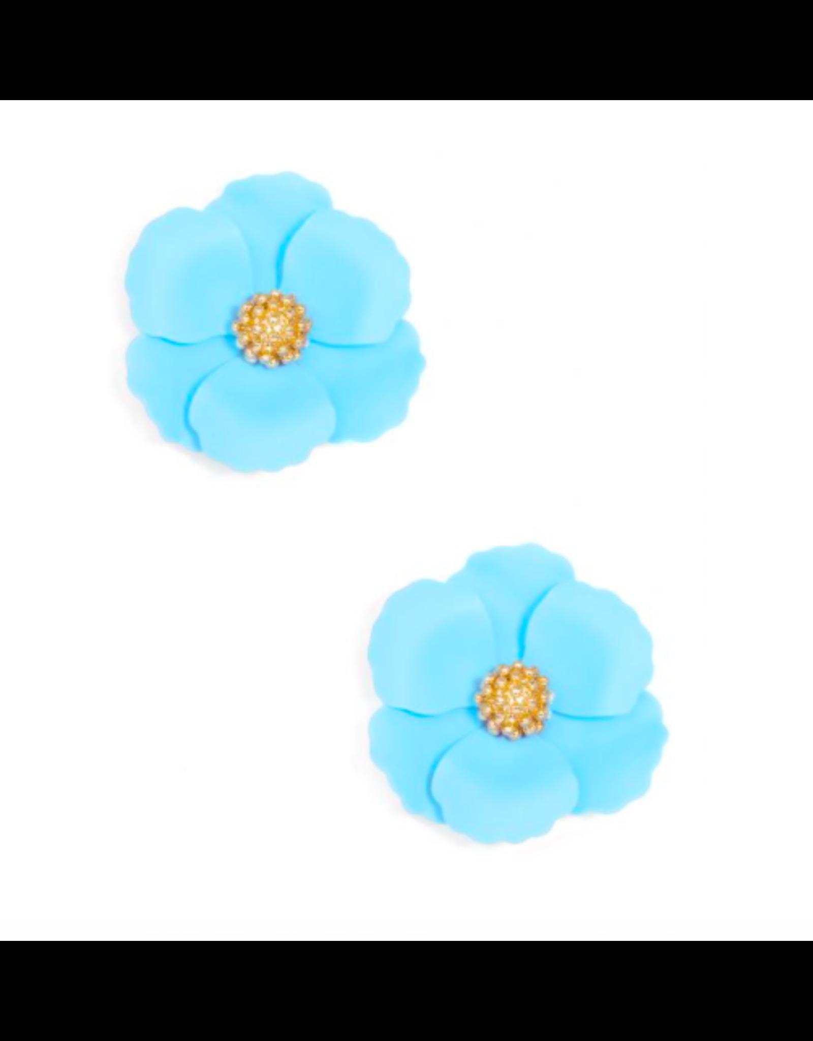 Zenzii Metal Floral Stud Earring in Light Blue