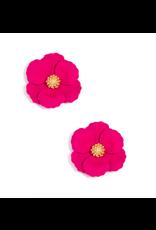 Zenzii Metal Floral Stud Earring in Hot Pink