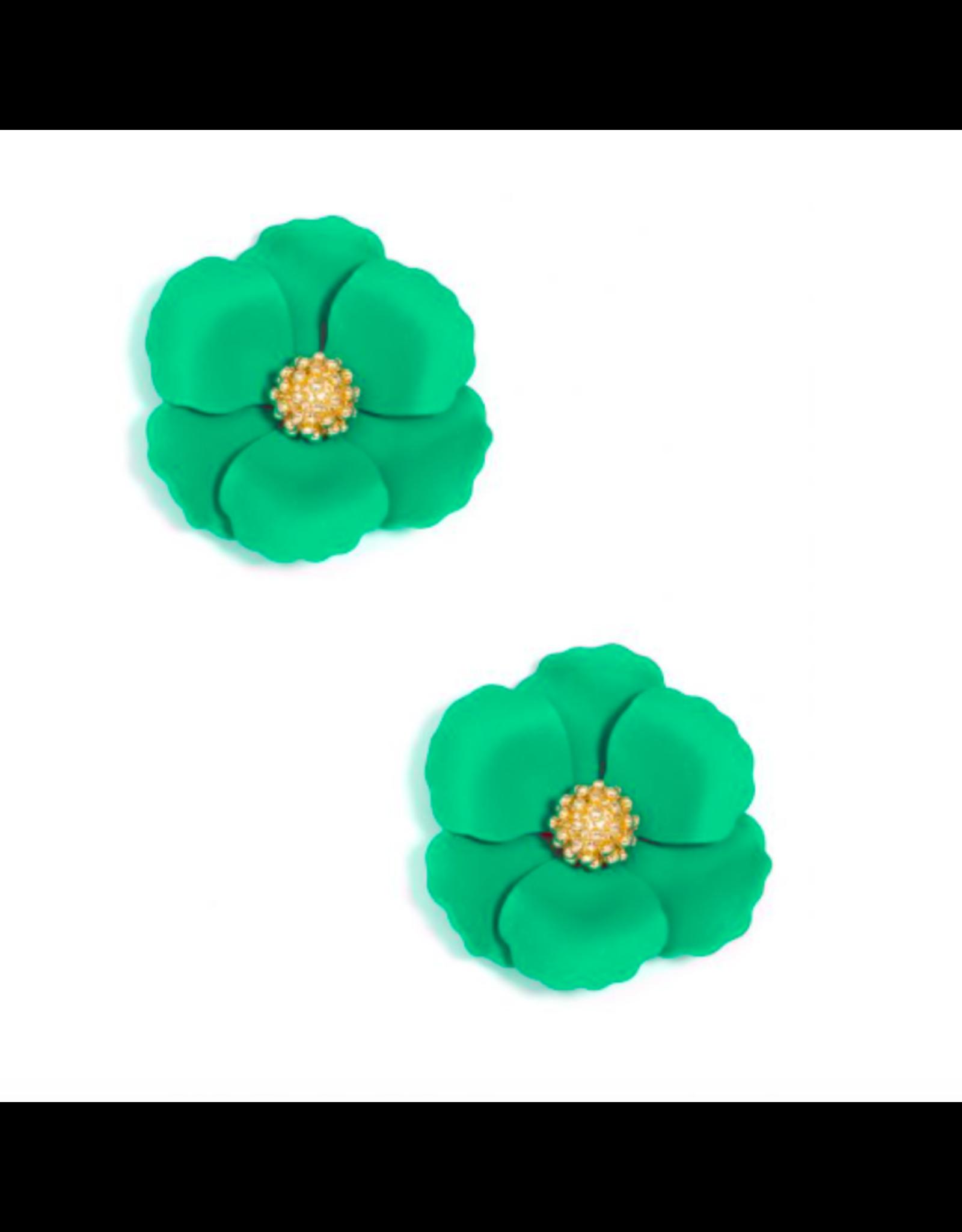 Zenzii Metal Floral Stud Earring in Dark Green