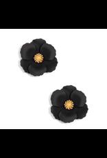 Zenzii Metal Floral Stud Earring in Black