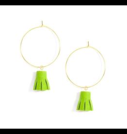 Zenzii Delicate Tassel Hoop Earring in Lime