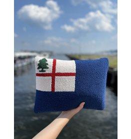 """Peking Handicraft Bunker Hill Flag Hooked Pillow 12"""" x 16"""""""