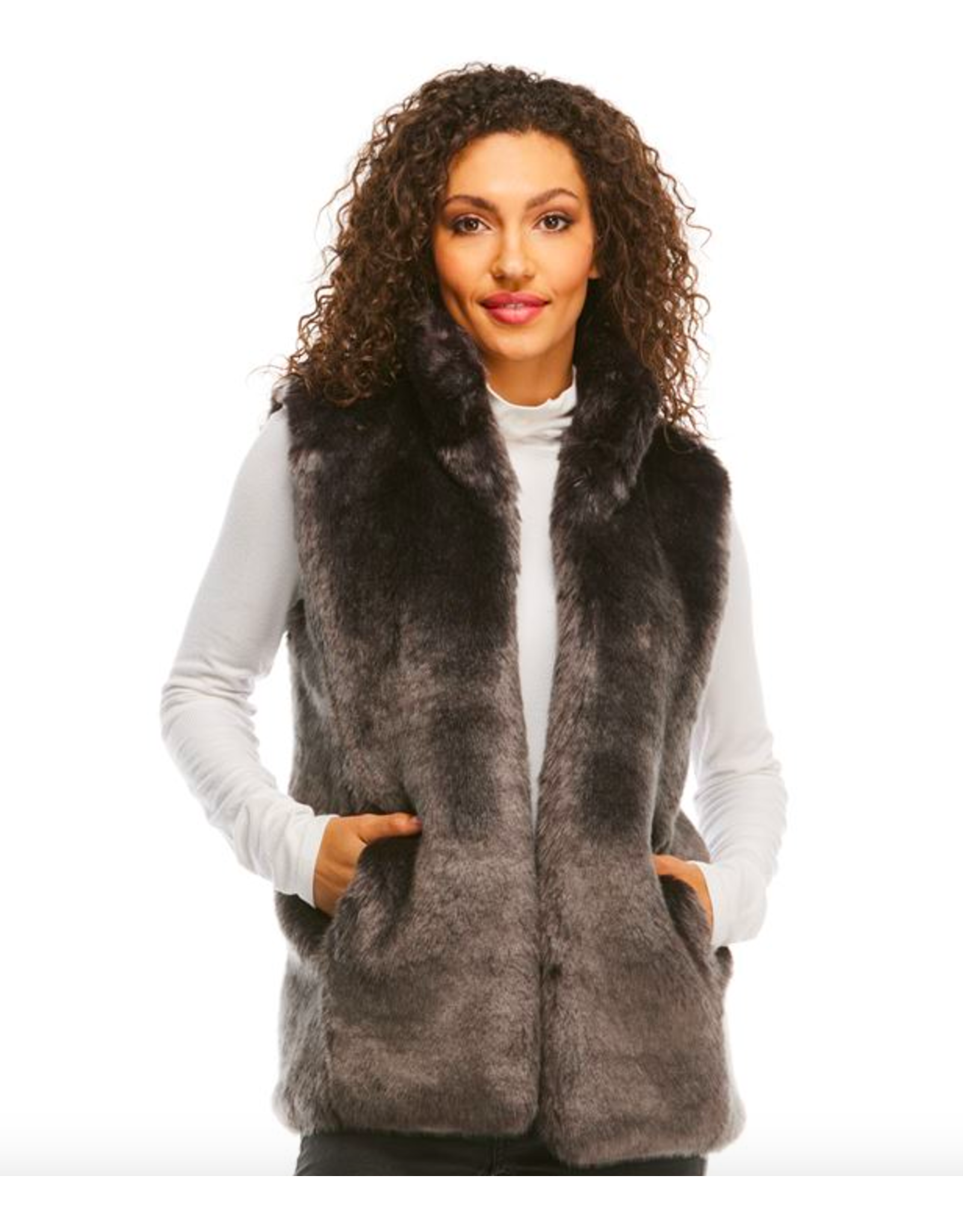 Donna Salyers Fabulous Furs Mink Couture Faux Fur Hook Vest in Graphite Size Small
