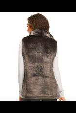 Donna Salyers Fabulous Furs Mink Couture Faux Fur Hook Vest in Graphite Size Medium
