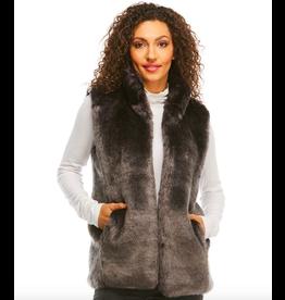 Donna Salyers Fabulous Furs Mink Couture Faux Fur Hook Vest in Graphite Size Large