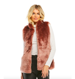 Donna Salyers Fabulous Furs Mink Couture Faux Fur Hook Vest in Rose Quartz Size Large