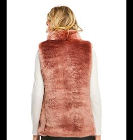 Donna Salyers Fabulous Furs Mink Couture Faux Fur Hook Vest in Rose Quartz Size Medium