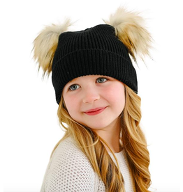 Donna Salyers Fabulous Furs Kid's Knit Faux Fur Pom Beanie in Black