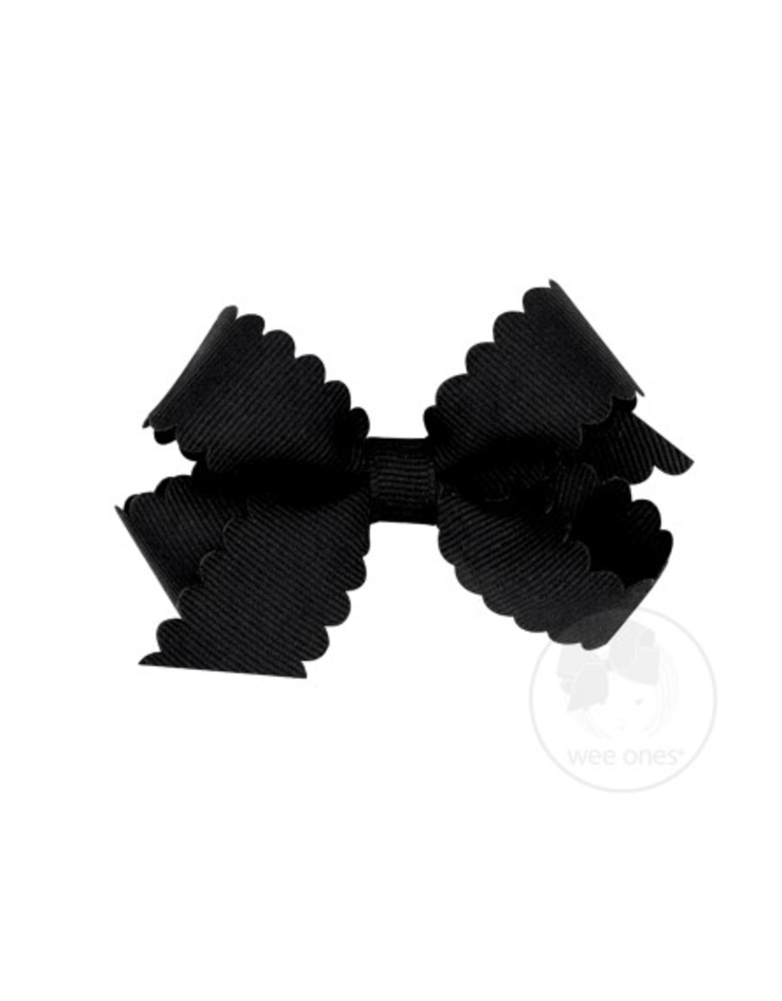 Wee Ones Wee Ones Mini Scallop Bow in Black