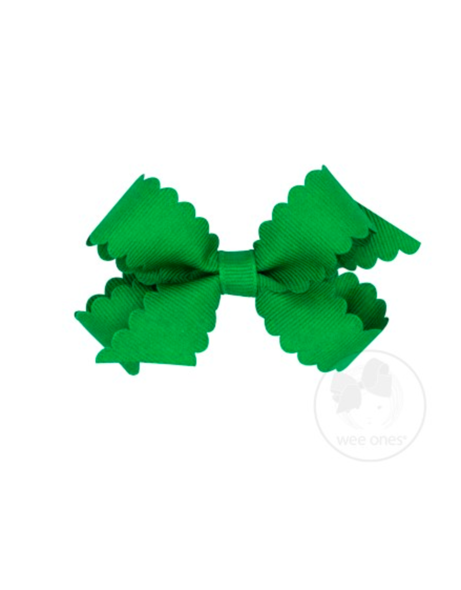 Wee Ones Wee Ones Mini Scallop Bow in Green