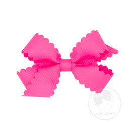 Wee Ones Wee Ones Mini Scallop Bow in Hot Pink
