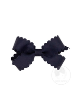 Wee Ones Wee Ones Mini Scallop Bow in Navy