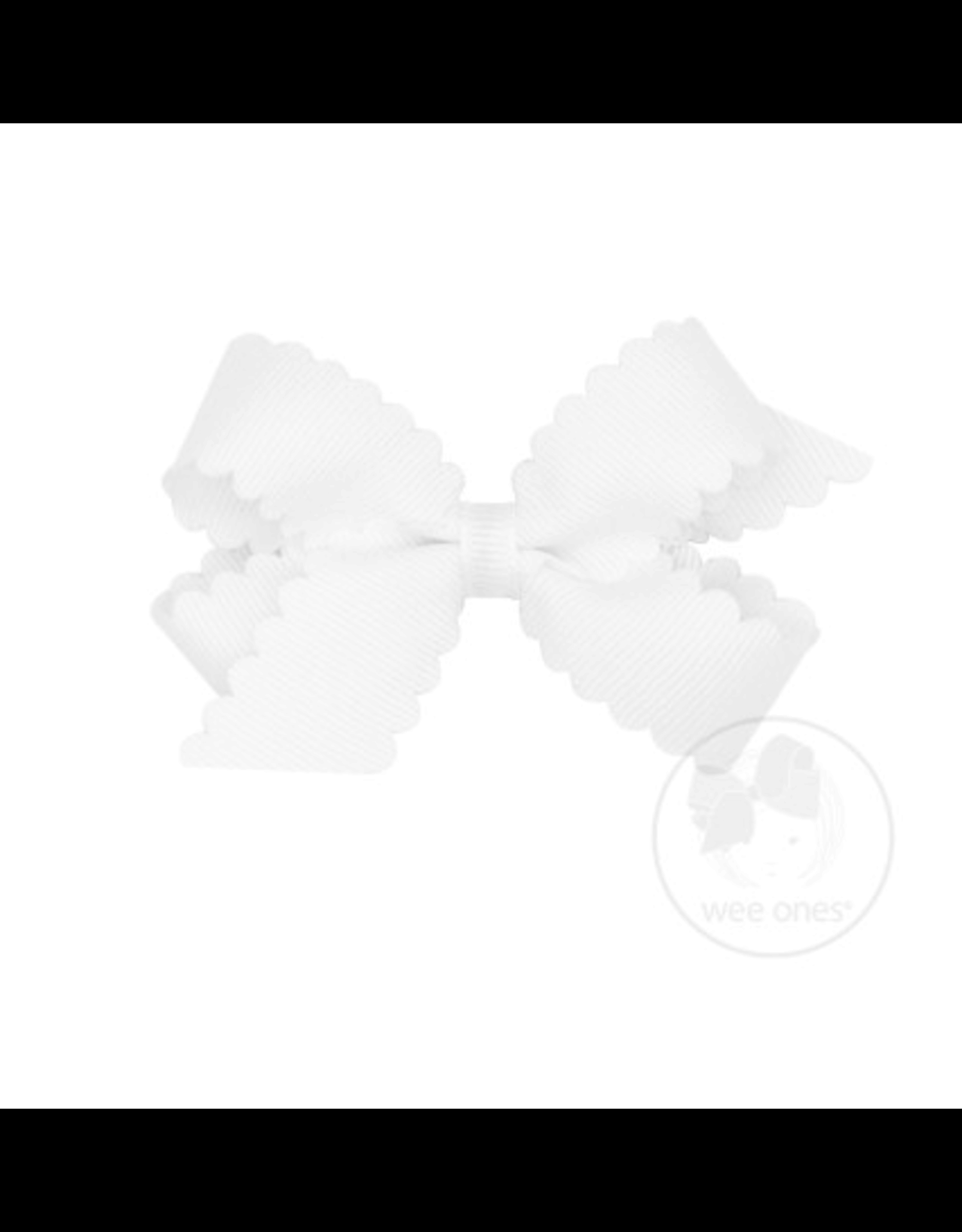 Wee Ones Wee Ones Mini Scallop Bow in White