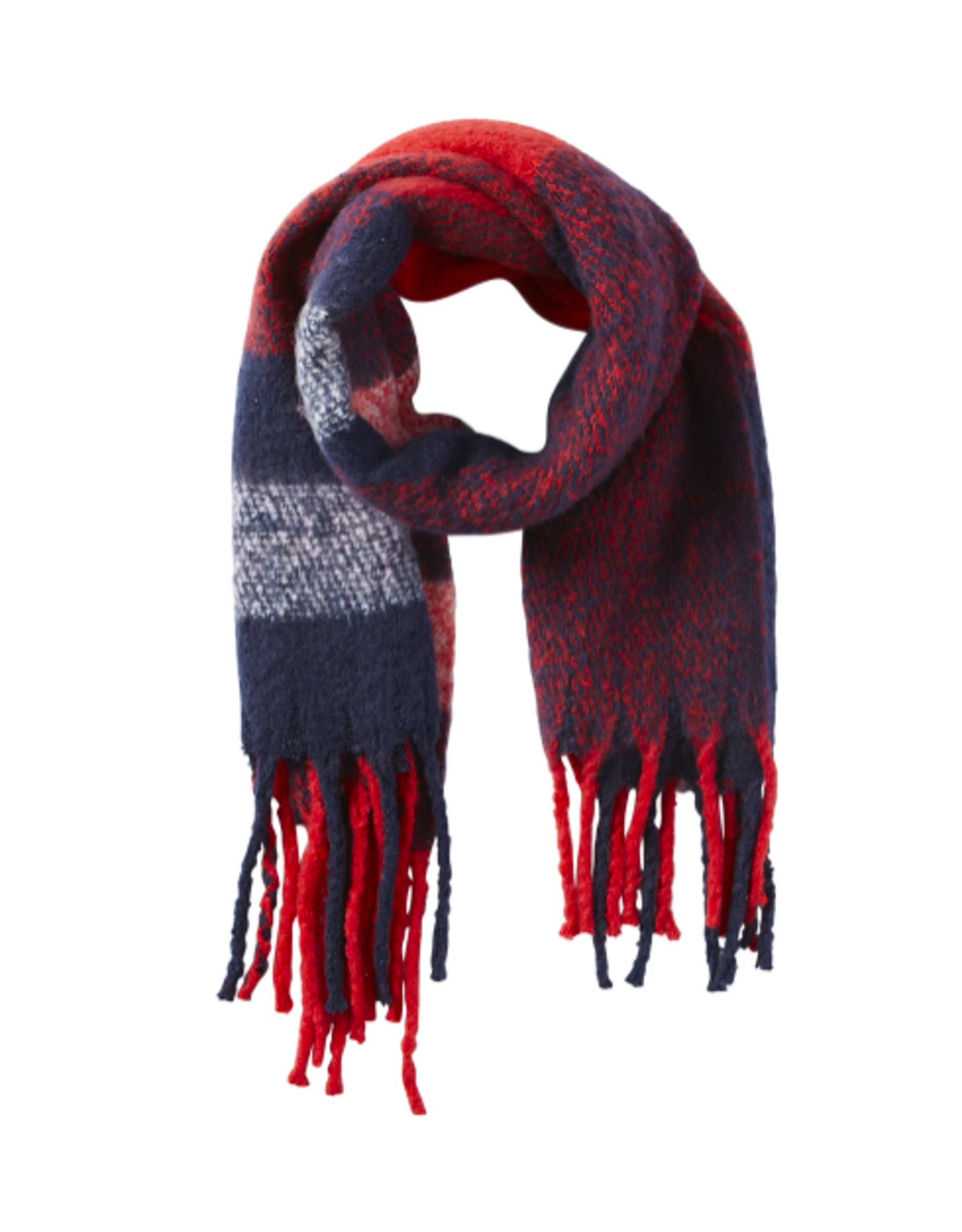North Plaid Fuzzy Fringe Scarf in Red