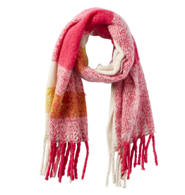 North Plaid Fuzzy Fringe Scarf in Pink