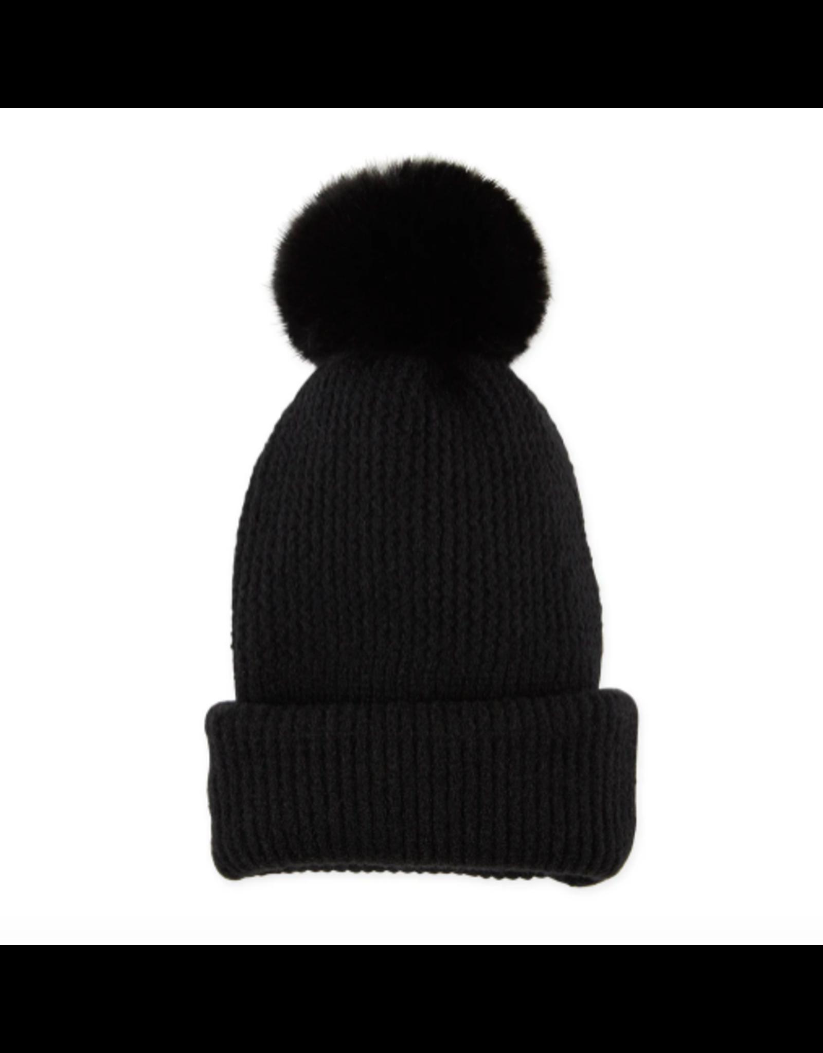 Plush Knit Pom Pom Beanie in Black