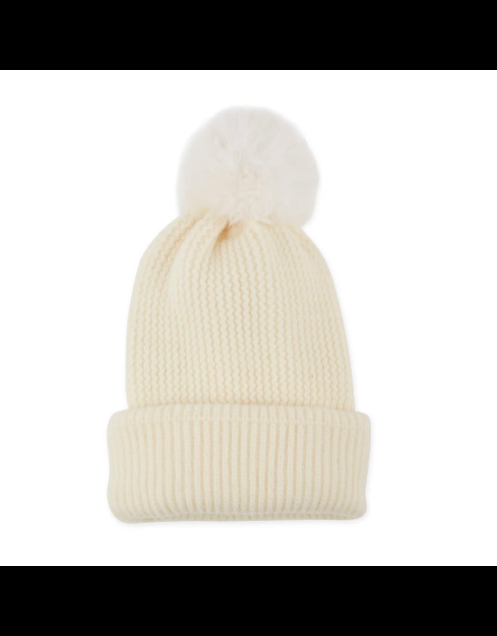 Plush Knit Pom Pom Beanie in Cream