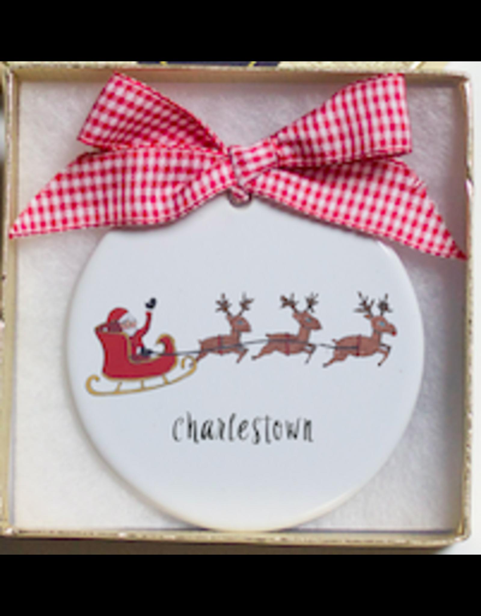 Dishique Santa Flying Over Charlestown Ornament
