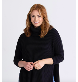 Mer Sea New Yorker Ribbed Cowl Sweater in Black