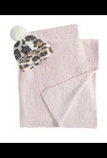 Pink Blanket and Leopard Hat Set