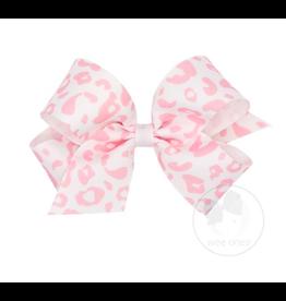 Wee Ones Wee Ones Medium Bow in Light Pink Leopard Print