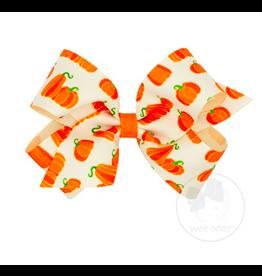 Wee Ones Wee Ones Medium Bow in Ivory Pumpkin Print