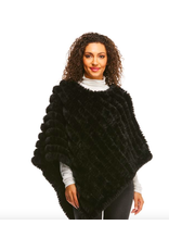 Donna Salyers Fabulous Furs Knitted Fur Poncho in Black