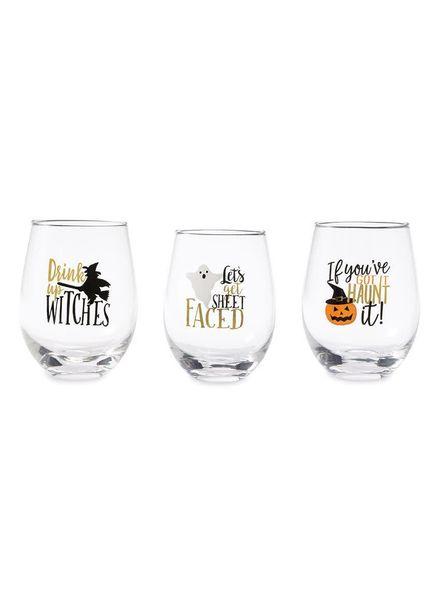 Mudpie Halloween Stemless Wine Glass