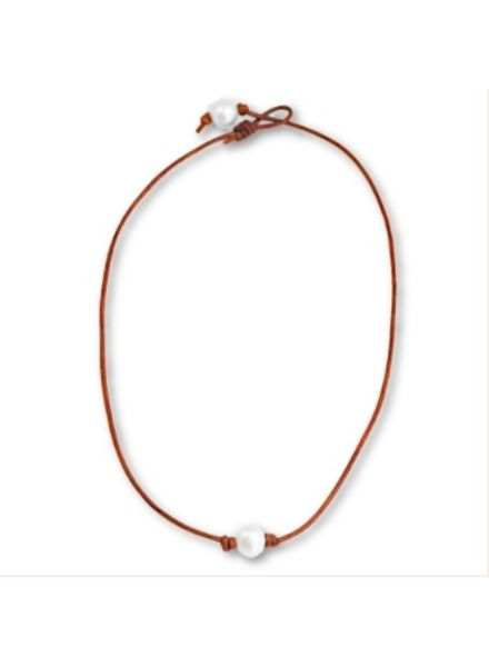 Sea Lustre Leather & Pearl Necklace - 2 Colors