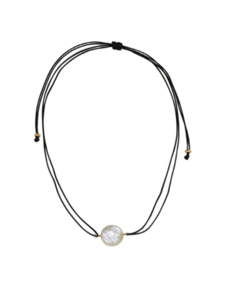Sea Lustre Coin Pearl Choker Necklace