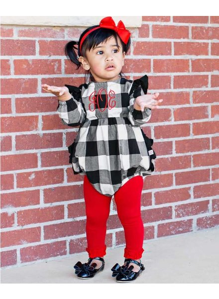 Ruffle Butts Monogrammed Plaid Bubble Romper