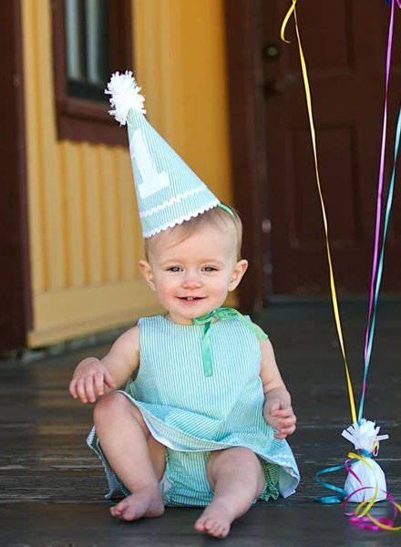 Ruffle Butts Green Seersucker Birthday Hat