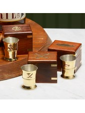 Two's Company Brass Shot Glass in Keepsake Box