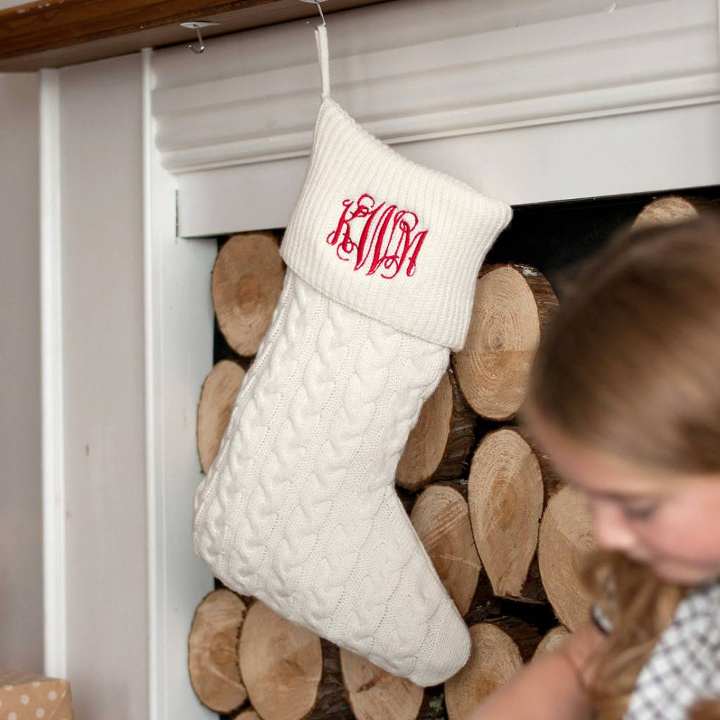 Cable Knit Christmas Stockings.Cream Cable Knit Stocking Embroidery Included
