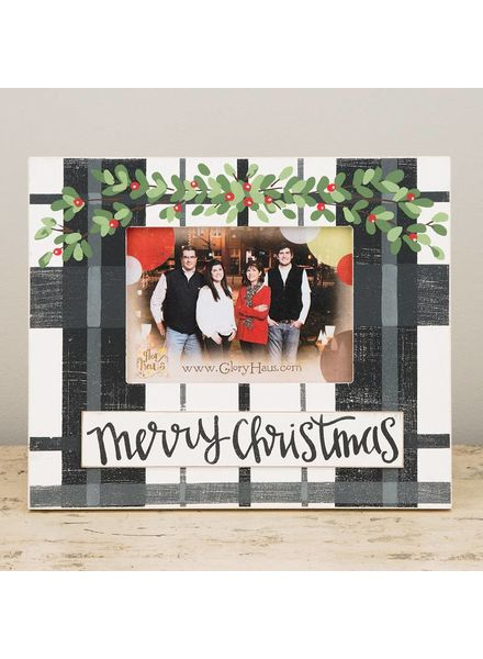 Glory Haus Plaid Merry Christmas Holly Frame
