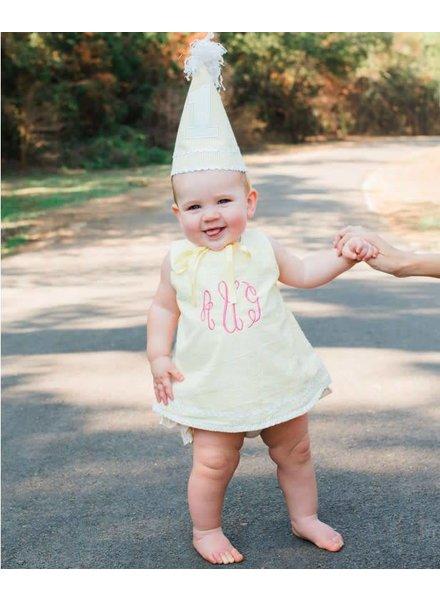 Ruffle Butts Yellow Seersucker Birthday Hat