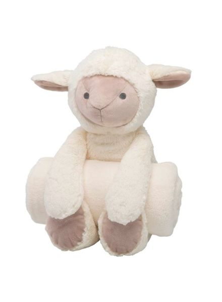 Elegant Baby Lamb Stuffed Animal & Monogrammed Blanket