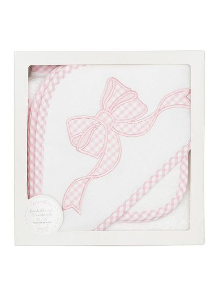 3 Marthas Pink Bow Hooded Towel