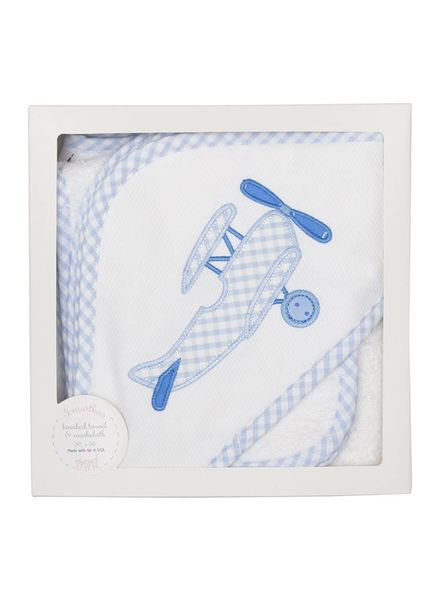 3 Marthas Blue Plane Hooded Towel