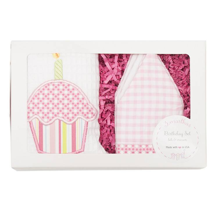 3 Marthas Pink Birthday Crown Bib Set