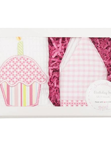 3 Marthas Pink Birthday Crown & Bib Set