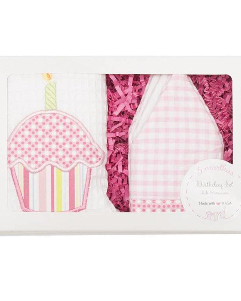 Pink Birthday Crown Bib Set